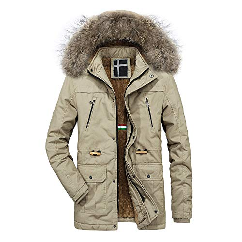 (Zegeey Men Faux Shearling Coat Winter Warm Mit Kapuze Reißverschluss Dicker Fleece-Mantel Baumwolle gefütterte Jacke)