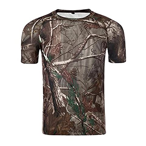TACVASEN Army Combat Mens T-Shirt Outdoor Hunting Camo Tee Shirts Tree Camouflage