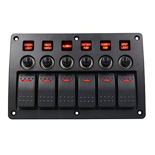 Rv Rocker Switches (TurnRaise Wasserdichte Rot LED 6 Gang Rocker Switch Panel 3 PIN Überlastschutz für RV Auto Boot)