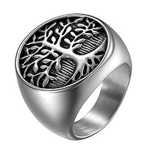 OIDEA Vintage Edelstahl Biker Gravur Lebensbaum Herren Ringe, Ehering Verlobungsring Bandring, Schwarz Silber für Männer – Ringgrößen 54 (17.2) bis 71 (22.6)