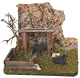 Schaf-Unterstand mit Kork-Felsen, Zaun, Stroh und 2 schwarzen Schafen Krippen-Zubehör