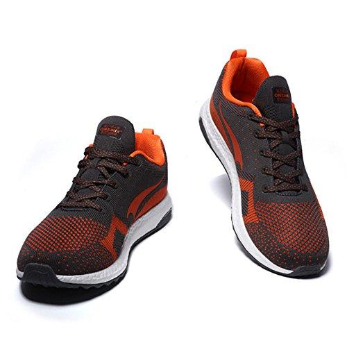ONEMIX Homme Femme Air Chaussures de course running Sport Compétition Trail Mixte Adulte ete Baskets Basses Grey/Orange