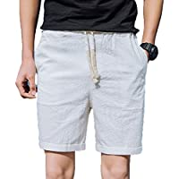 Pantalón Cargo Corto de Hombre Aire Libre Verano Lino Cordón Pantalones Cortos Casuales Pantalones de Playa
