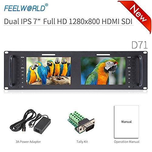 Feelworld D71 Rack Kamera Monitor Pro Broadcast Dual 7