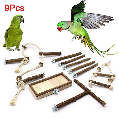FeiyanfyQ 9-teiliges Basic Käfig-Set mit Sitzstangen Vogelschaukel, Sitz, Sesselstange und Käfigseil-Sitzstange für Wellensittiche, Nymphensittiche, Zubehör für Vogelkäfig, Wood Color, 9pcs