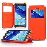 UKDANDANWEI Samsung Galaxy A5 (2017)/A520 Étui - Magnétique View Avec Fenêtre Etui Cuir Coque Housse Et Stand pour Samsung Galaxy A5 (2017)/A520 - Orange