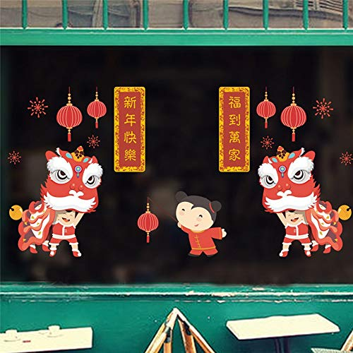 KUNHAN Weihnachts-Wandaufkleber Glücklicher Löwentanz Wandaufkleber Chinese New Year Fensterglas Dekoration Festival Feuerwerk Laterne Wandtattoo Shop Wandbild (Dekorationen Für Das Chinese New Year)