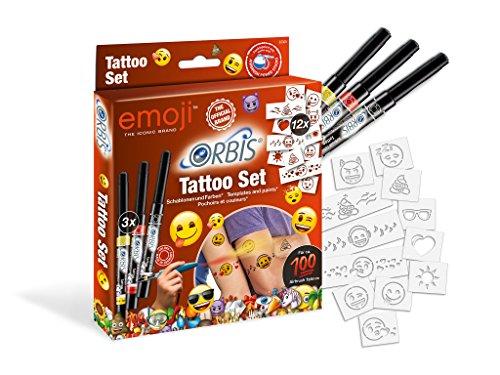 Orbis aerografo, tattoo-set emoji 30309, airbrush colori per la pelle, con 3tattoo partonen a colori e motivi autoadesive, semplice aufsprayen, dermatologicamente testato