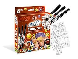Orbis aerógrafo, Tattoo-Set Emoji 30309, aerógrafo Colores para la Piel, con 3Tattoo Color de partonen y Motivos Autoadhesivas, fácil aufsprayen, dermatológicamente Probado