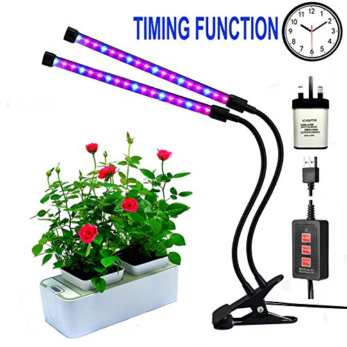 Led grow lights for indoor plants,RINBO 12W Plant grow lights, 36LEDs Artificial Dual Head plant lamp, 3 Modes Timer(3H/6H/12H), Dimmable 5 Levels, 24 Red and 12 Blue ELDs, 360 Degree Adjustable Flexible Gooseneck,for office/house/Gardening/Hydroponic/Aquatic growing plants,vegetable,Flower,Seedling?Upgrade Timer Version?