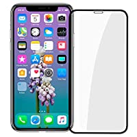 "iPhone X Screen Protector, [Easy Install] 3D Curved Anti-Bubble Ultra HD Tempered Glass Case Friendly Screen Protector for Apple iPhone X/XS (5.8"") Black"
