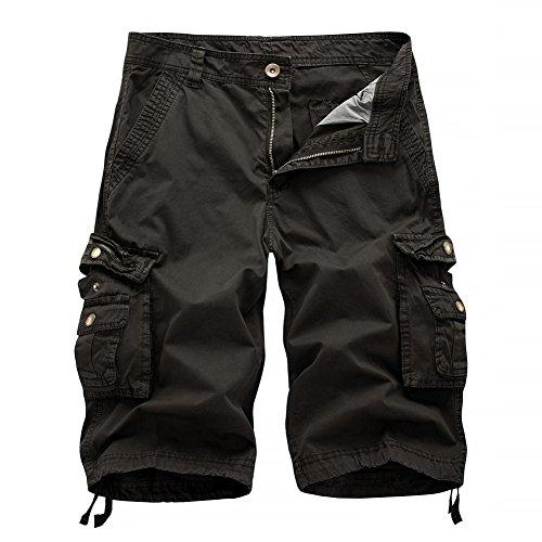 AYG Cargo Shorts Herren Bermudas Baumwolle Shorts Freizeit Sport 30-40 (W30(DE 44/XS)/Taille:76-78cm, Dunkelgrau # A082) (Shorts Jungen Vintage)