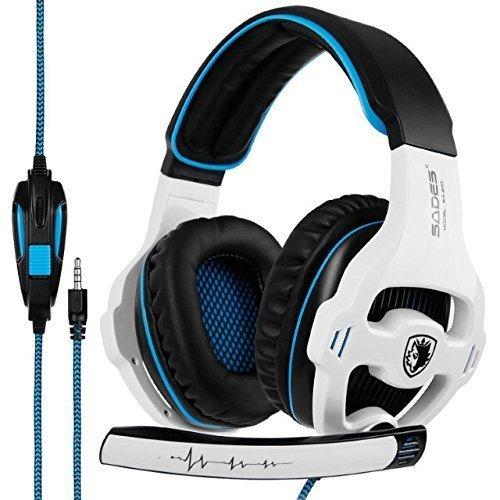 SADES SA810 Kopfhörer Gaming Headset Over Ear Kopfhörer mit Mikrofon 3,5 mm Soft Memory Ohrenschützer für PS4 Neue Xbox One Laptop PC Mac Telefon Weiß