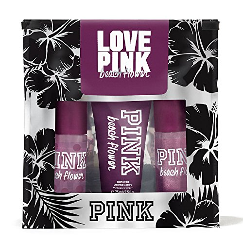 Victoria's Secret Love PINK Beach Flower Mini Mist, Lotion, and Shimmer Mist Scent Gift Set