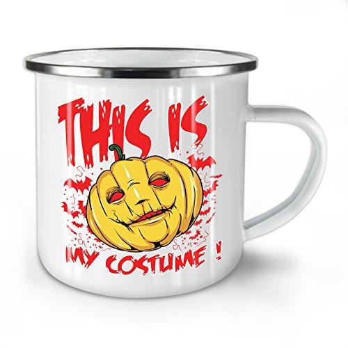 Wellcoda Halloween Kostüm Grusel Emaille-Becher, Kunst - 10 Unzen-Tasse - Kräftiger, griffiger Griff, Zweiseitiger Druck, Ideal für Camping und Outdoor