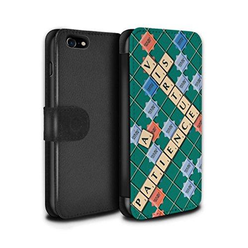 Stuff4 Coque/Etui/Housse Cuir PU Case/Cover pour Apple iPhone 7 / Ennemis Proximité Design / Mots de Scrabble Collection Patience Vertu