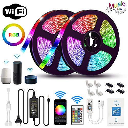 Chalpr LED Strip 10m, WiFi LED Streifen Set Smart Phone APP Kontrolle Kompatibel mit Alexa,Google Home,IFTTT,RGB LED band, IP65 Wasserdicht Lichtband Leiste, 24 Tasten IR Fernbedienung 12V 5A Netzteil