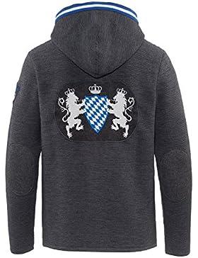 Trachtenjanker dunkelgrau Kapuze - Bayern Wappen