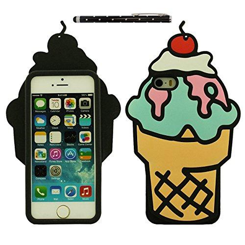 Apple iPhone SE Coque Case, Bonbons Crème glacée Forme Silicone Gel Doux Housse de Protection pour iPhone 5 5S 5C 5G avec 1 stylet jaune