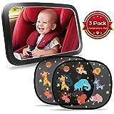 Rücksitzspiegel für Babys TBoonor Rücksitzspiegel + auto sonnenschutz(2 pack)für Auto Babyspiegel für Kindersitze Spiegel Auto Baby Autospiegel 360°schwenkbar kompatibel mit meisten Autositz