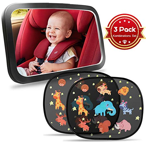 Rücksitzspiegel für Babys TBoonor Rücksitzspiegel + auto sonnenschutz(2 pack)für Auto Babyspiegel für Kindersitze Spiegel Auto Baby Autospiegel 360°schwenkbar kompatibel mit meisten Autositz - Sonnenschutz-bundle