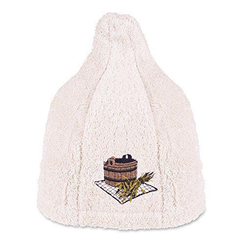 Saunahut 100% Baumwolle - fein bestickt mit Logo - Qualitätsgeprüft !