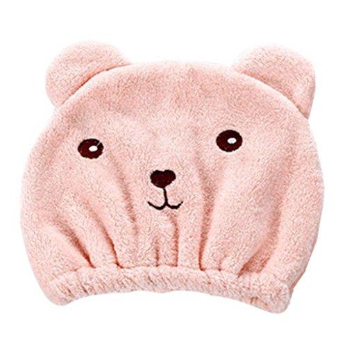 Gaddrt Microfiber Hair Turban schnell trockenes Haar Hut gewickelt Handtuch Badekappe (Rosa) -