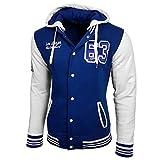 College Baseball Kapuzen Jacke Damen Herren Oldschool Jacket Sweatjacke 6876-1, Farbe:Sax / Weiß;Größe:XL
