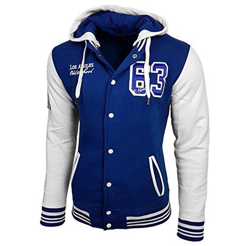 College Baseball Kapuzen Jacke Damen Herren Oldschool Jacket Sweatjacke 6876-1 Sax / Weiß
