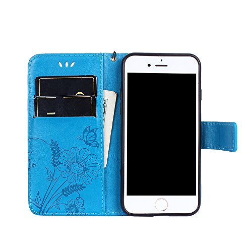 Cover per iPhone 8 / iPhone 7, Vectady Cover Custodia in Pelle a Libro Portafoglio Wallet Magnetica Flip Cuoio Leather Case Protettiva Antiurto Caso con Porta Carte Funzione Cinturino da Polso Disegni Blu Colore