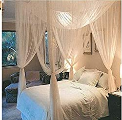 Souarts Mosquito Net Mosquito Fly Net Baldchin Mosquito Repellent for Double Beds Kids Room White