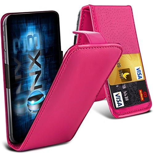 ONX3® (Hot Pink) HTC Desire 700 Fall Universal-Luxuxart Folding PU-Leder Federklemmhalter Top-Schlag- Fall mit 2-Karten-Slot, nach oben und unten Kamera - Htc Handy-fall, Desire 700