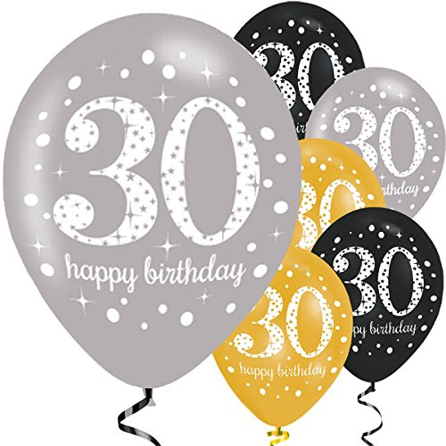 lon Deko 30. Geburtstag I 6 Teile Zahlenballon Ballon Gold Schwarz Silber metallic Helium Party Set Happy Birthday 30 Jubiläum ()