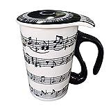 Giftgarden mug procelaine avec poignée, Tasse de Musique Tasse à café avec Couvercle créatif Cadeau 400ml