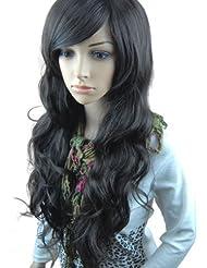 MelodySusie® Perruque pour Femme Longue Bouclée avec Frange de Côté Noir + Filet à Cheveux