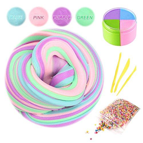 Swallowzy Flauschige Schleim Fluffy Slime, Flauschige Floam Schleim Kit Mix Farbe 6 Unze (4 Farbe) Fluffy Schleim mit Schleim-Tools und Schaumbälle (4 Unze-schaum)
