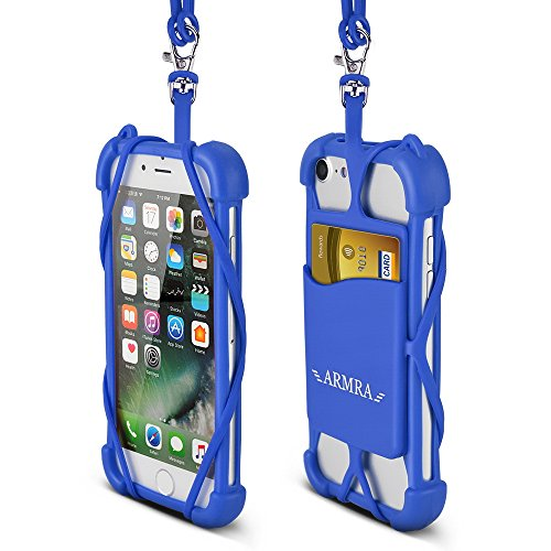 ARMRA Telefon Lanyard Universal 4 '' bis 6 '' Silikon Tasche mit Nackenband für iPhone 7/7 Plus/6/6 Plus/5/Samsung Hinweis 5/BLU R1 HD/LG/HTC/Huawei (Dunkel Blau)