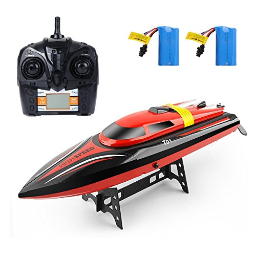 GizmoVine Remote Control Boats H101 High Speed 2.4GHz 30mph with Capsize Reset Function Remote Control Toys for Boy with Extra Battery (View amazon detail page) (Red)