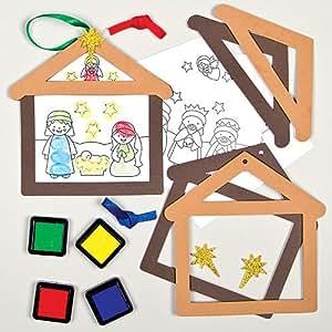 bastelset f r deko anh nger weihnachtsgeschichte mit fingerabdruck f r kinder zum. Black Bedroom Furniture Sets. Home Design Ideas