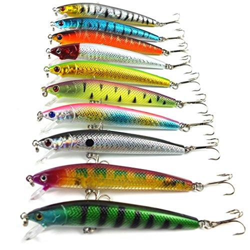 10pcs/Minnow Lure 9.5cm/8.5g appâts de pêche de pêche de beaucoup de pêche leurre attirail 6 # haute teneur en carbone crochet d'ancrage en acier