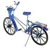 Fenteer 1:10 Diecast Deko Fahrrad mit Korb Geldgeschenk Dekoration - Blau