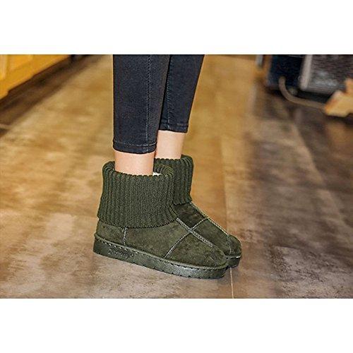HSXZ Scarpe donna pu Winter Snow Boots stivali tacco piatto rotondo Mid-Calf Toe stivali per Casual verde grigio nero Green