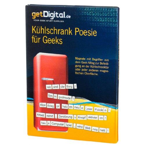 getDigital Geek Poesie Wortpuzzle Kühlschranknachrichten Flache Kühlschrankmagnete, Magnet, weiß, 15 x 20 x 1.5 cm