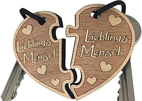 Lieblingsmensch Schlüsselanhänger aus Holz sehr gute Qualität Partnergeschenk Herz Anhänger Geschenk vom original (Gute Freundin Geschenke)