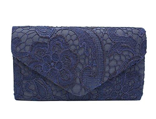 PB-SOAR Elegant Damentasche Clutch Abendtasche Brauttasche Umhängetasche Handtasche mit Spitze, 8 Farben auswählbar (Dunkel Blau)