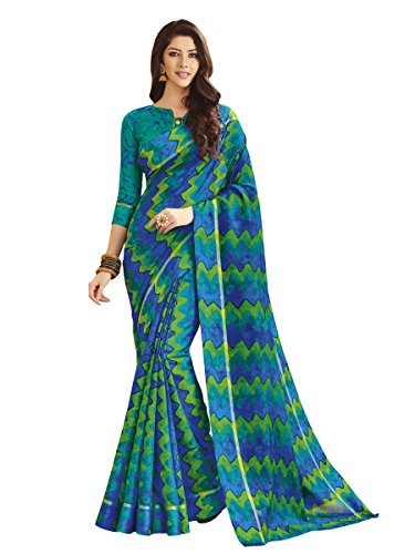 Shangrila Women's Kora Silk Saree With Blouse Piece (Rngusv-2321_Blue)