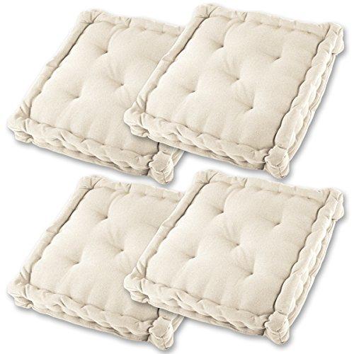 Gräfenstayn® Set de 4 Cojines, Cojines para Silla de 40 x 40 x 8 cm para Interior y Exterior de 100%...