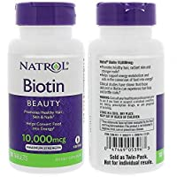 Natrol, Biotin, 10,000 mcg, Pack of 2 Bottles, 100 Tablets Each