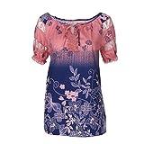 OverDose Damen Blumen Spitze Tops Frauen Kurzarm V-Ausschnitt Spitze Gedruckte Lose T-Shirt Bluse Oberteile Tees Shirt(Rot 2,M)