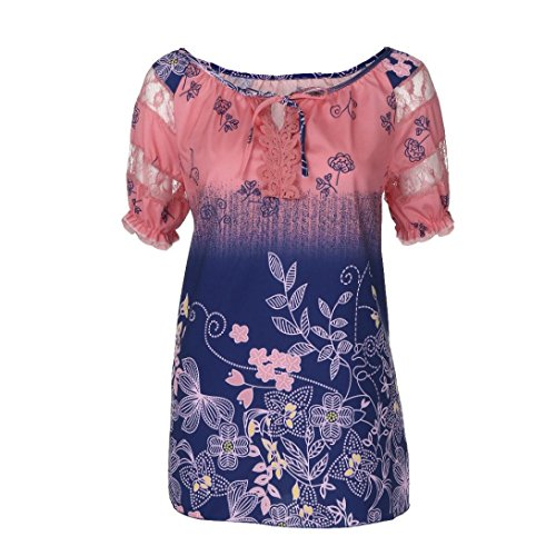 OverDose Damen Blumen Spitze Tops Frauen Kurzarm V-Ausschnitt Spitze Gedruckte Lose T-Shirt Bluse Oberteile Tees Shirt(Rot 2,5XL)